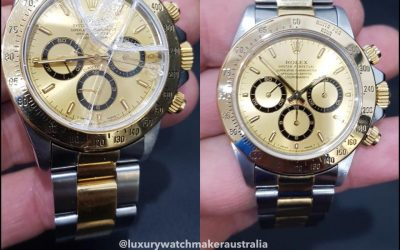 Before and after a crystal replacement on a Rolex Daytona