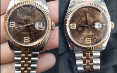 BEFORE and AFTER a full service on a Rolex Date-Just II with chocolate dial